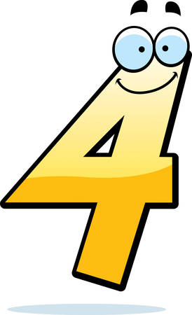 numbers: A cartoon illustration of a number four smiling and happy. Illustration