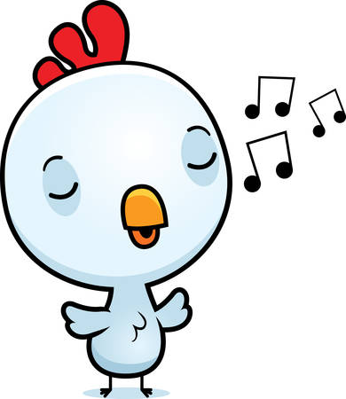 chirp: A cartoon illustration of a baby rooster singing.