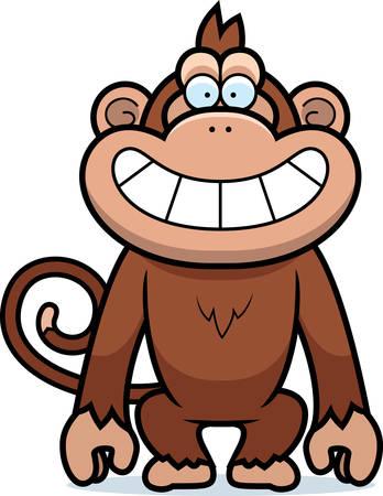 grinning: A cartoon illustration of a monkey grinning. Illustration