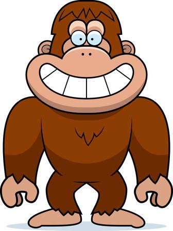 bigfoot: A cartoon illustration of a bigfoot grinning. Illustration