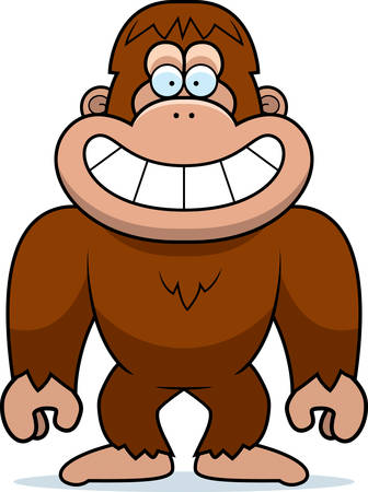 A cartoon illustration of a bigfoot grinning. Illustration
