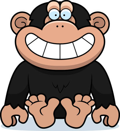 chimp: A cartoon illustration of a chimp sitting.