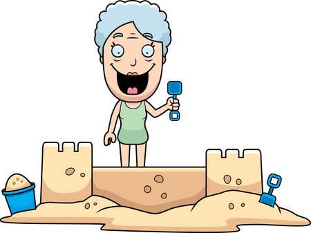 A cartoon illustration of a woman building a sandcastle. Vettoriali