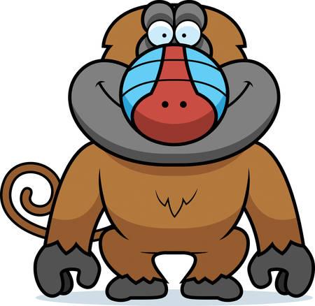baboon: A cartoon illustration of a baboon smiling.