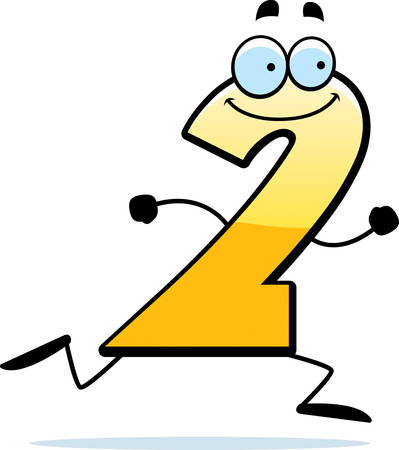 A cartoon illustration of a number two running and smiling. Illustration