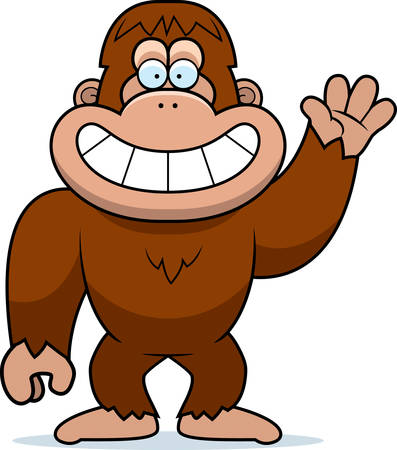 bigfoot: A cartoon illustration of a bigfoot waving.