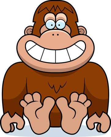 A cartoon illustration of a bigfoot sitting.