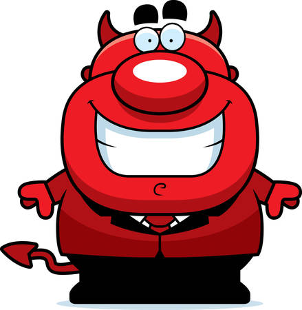 guy standing: A cartoon illustration of a devil smiling.
