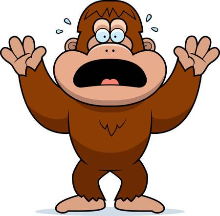 bigfoot: A cartoon illustration of a bigfoot panicking.