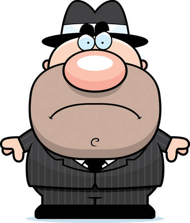 A cartoon illustration of a mobster with an angry expression.