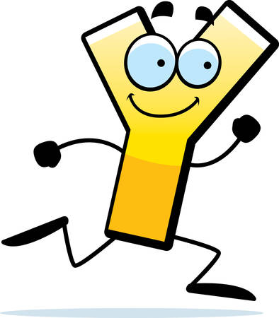 A cartoon illustration of a letter Y running and smiling.