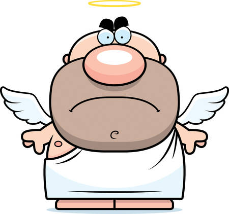 A cartoon illustration of an angel with an angry expression.