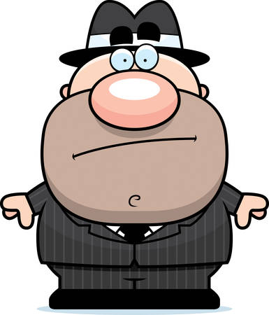 A cartoon illustration of a mobster standing.