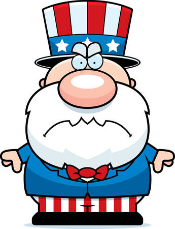 A cartoon illustration of a patriotic man with an angry expression.
