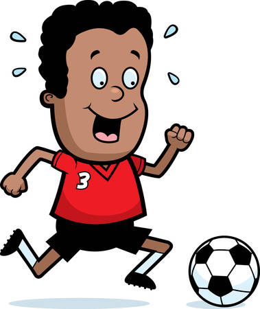 playing soccer: A cartoon illustration of a child playing soccer.