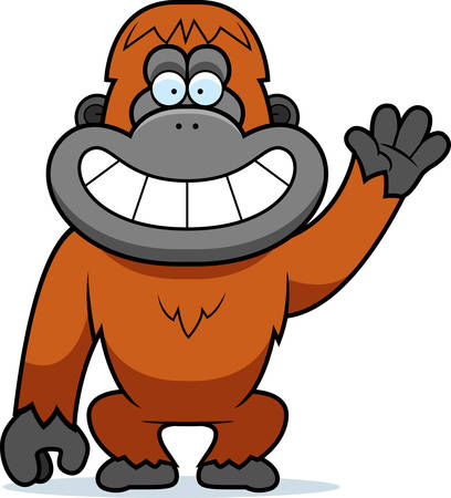 orangutan: A cartoon illustration of a orangutan waving.
