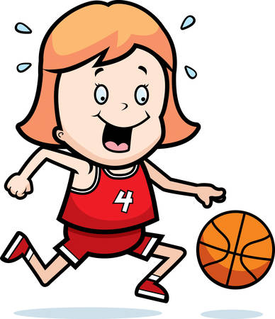 dribbling: A cartoon illustration of a child playing basketball. Illustration