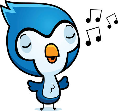 A cartoon illustration of a baby bluejay singing. Ilustrace