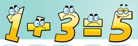 A cartoon illustration of numbers that add up wrong.