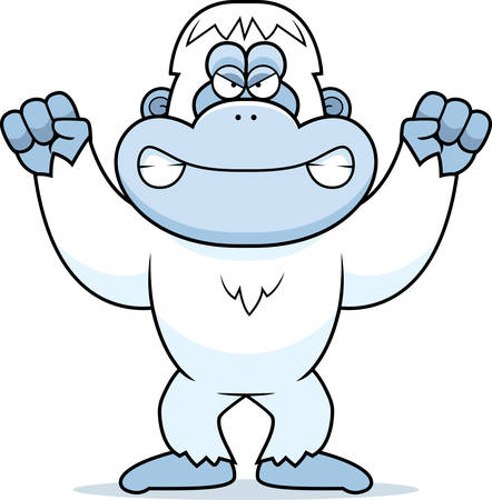 yeti: A cartoon illustration of an angry looking yeti. Illustration