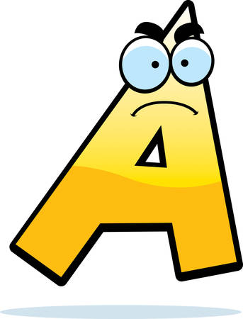 A cartoon illustration of a letter A with an angry expression.