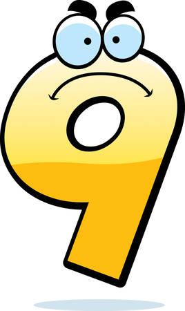 numero nueve: Una ilustración de dibujos animados de un número que parece enojado nueve.