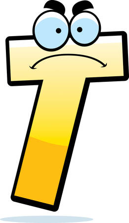A cartoon illustration of a letter T with an angry expression. Ilustração