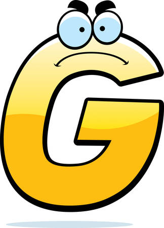 A cartoon illustration of a letter G with an angry expression.