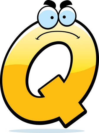 A cartoon illustration of a letter Q with an angry expression.