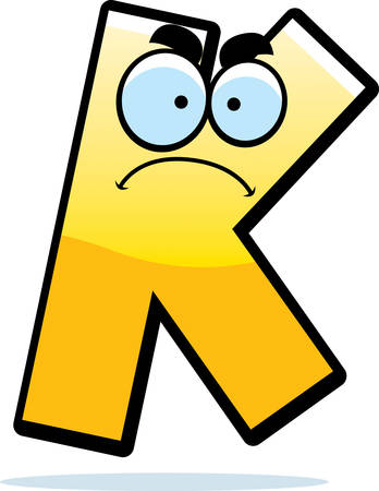 A cartoon illustration of a letter K with an angry expression.