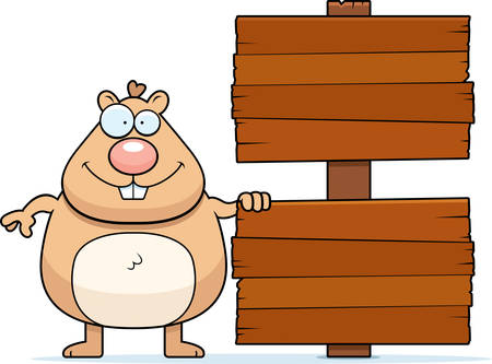 A cartoon illustration of a hamster with a wood sign.