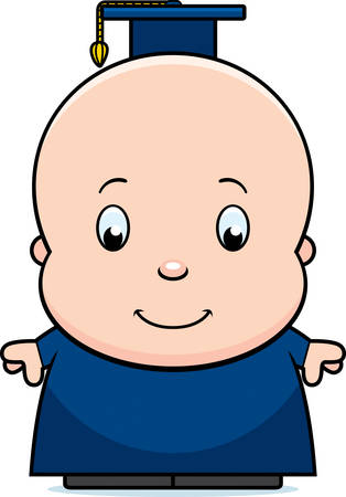 A cartoon illustration of a baby genius in a professor outfit.  イラスト・ベクター素材