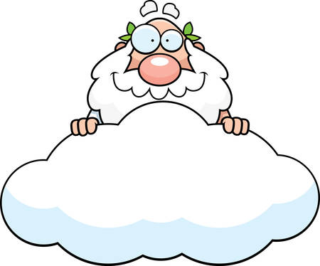A cartoon illustration of a Greek god in a cloud. 일러스트