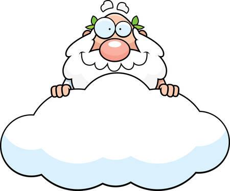 A cartoon illustration of a Greek god in a cloud. Çizim