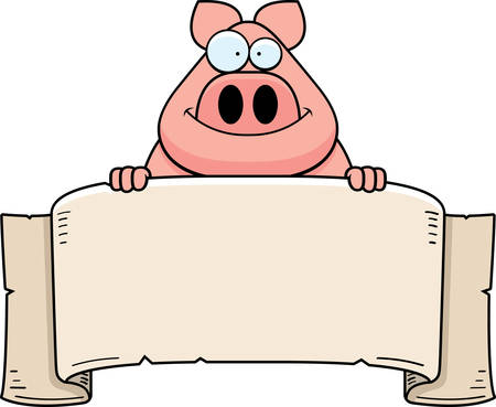A cartoon illustration of a pig with a banner. Illustration