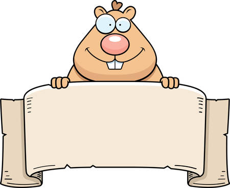 A cartoon illustration of a hamster with a banner.