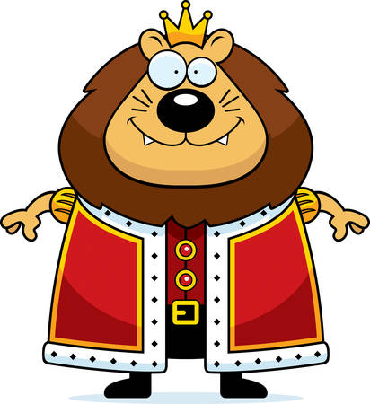 A cartoon illustration of a lion king with a crown and robes.