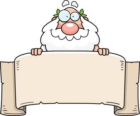 Un fumetto illustrazione di un filosofo greco con un banner.