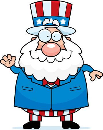 A cartoon illustration of a patriotic man waving and smiling.