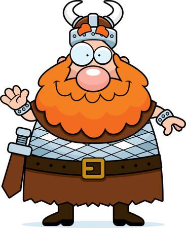 vikingo: Una ilustración de dibujos animados de un vikingo saludando y sonriendo.