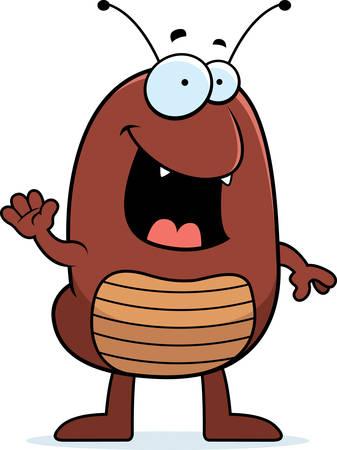 flea: Una ilustraci�n de dibujos animados de una pulga sonriendo y saludando.