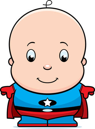 tights: A cartoon illustration of a baby superhero in tights and a cape.