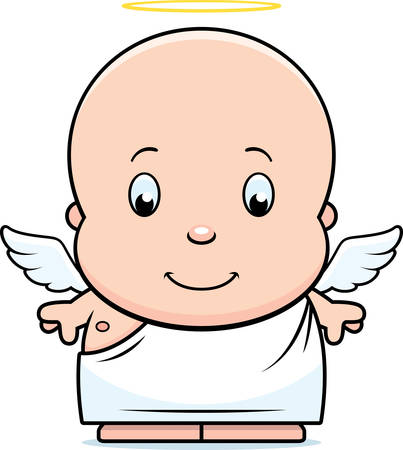 baby angel: A cartoon illustration of a baby angel with wings and a halo.