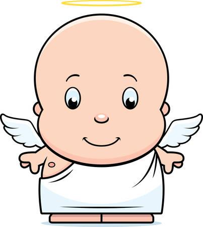 baby angel: Un fumetto illustrazione di un angelo bambino con le ali e un alone.