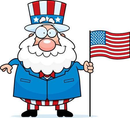 A cartoon illustration of a patriotic man with an American flag.