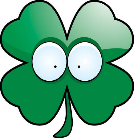 A cartoon illustration of a four leaf clover with eyes. Ilustração