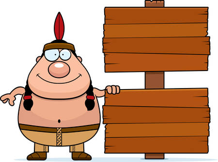 native american man: A cartoon illustration of a Native American man with a wooden sign. Illustration