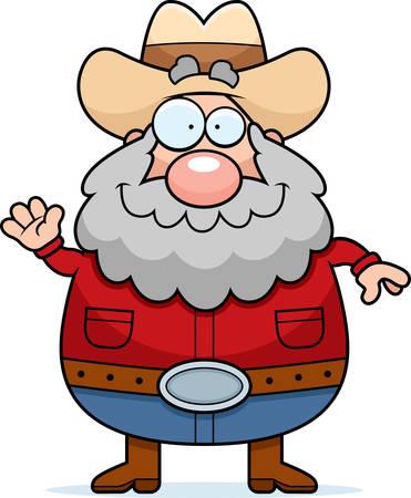 prospector: Una ilustración de dibujos animados de un prospector saludando y sonriendo.