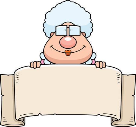 バナー記号でおばあちゃんの漫画イラスト。