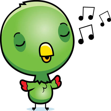 chirp: A cartoon illustration of a baby parrot singing.